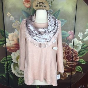 NEW Style & Co Fringed Circle Scarf & Sweater Set